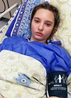 Алина Чеботкова, 15 лет, разрыв аорты, спасет эндоваскулярная операция, требуется стент-графт (эндопротез, применяемый при аортальной аневризме). 534905 руб.